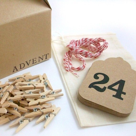 Original Advent Calendar Garland Kit Kraft & Red by OhHelloMagpie, $25.00