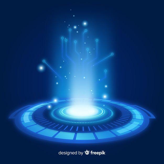 Download Realistic Blue Hologram Portal Background for
