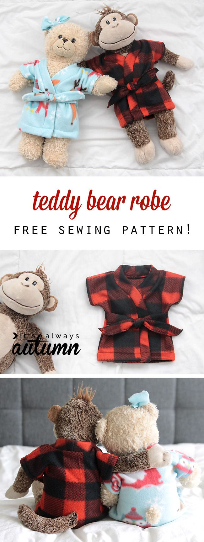 Free stuffed animal or teddy bear robe pattern and easy to follow sewing tutorial. How to make a DIY robe for a toy.