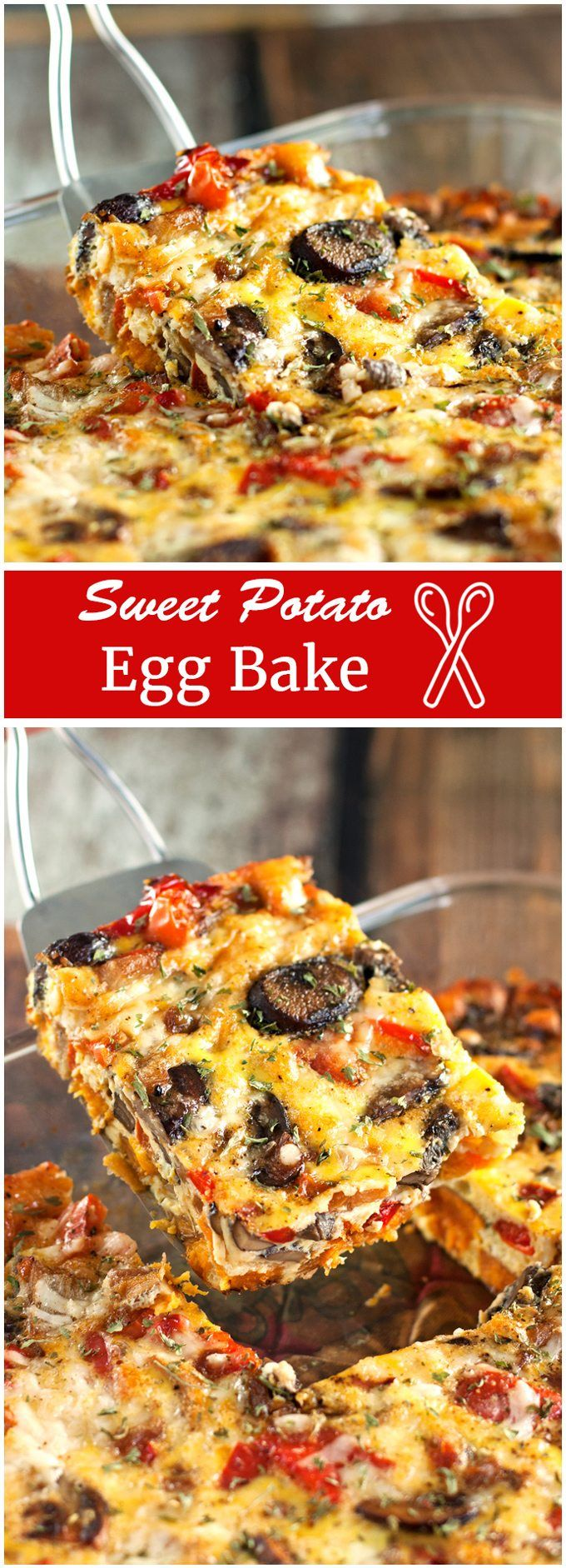 Savory eggs packed with sweet potatoes, mushrooms, onions, peppers, and cheese - bursting with delicious flavors and beautiful colors! Assemble it the night before, for a simple recipe that cooks while you visit with family and friends. | 2teaspoons.com