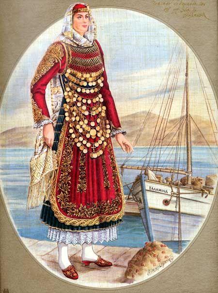 Κοπέλλα από την Κούλουρη της Σαλαμίνας με την τοπικήν ενδυμασίαν της και με θέα τη θάλασσα.