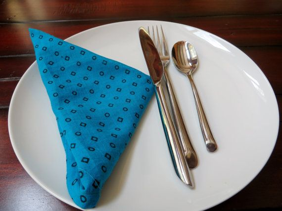 BLUE cloth napkins natural fabric eco friendly by HouseofMayil
