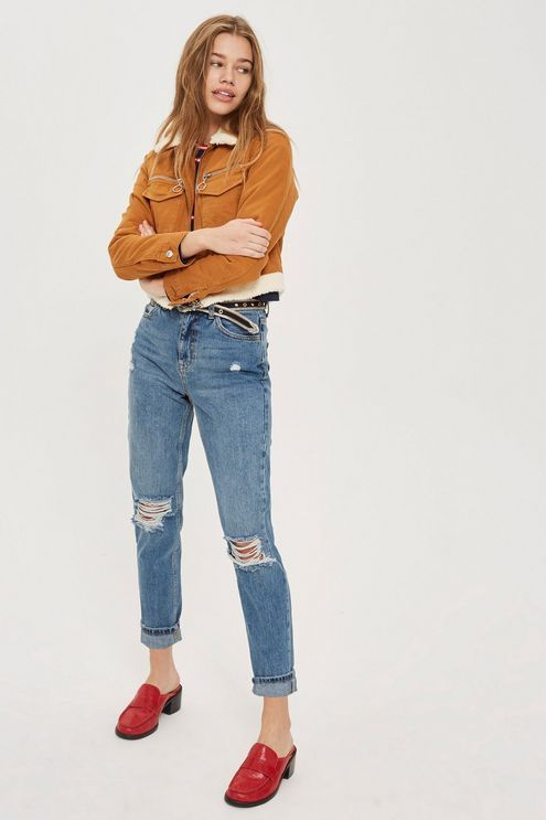 24b5e5fbae5 MOTO Mid Blue Ripped Mom Jeans   links for ordering   Ripped mom ...