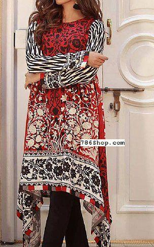 Red/Black Marina Suit (2 Pcs) | Buy Khaadi Pakistani Dresses and Clothing online in USA, UK