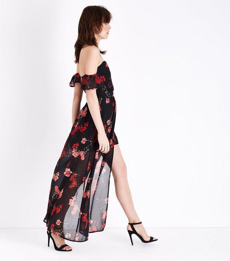 Parisian Black Floral Print Chiffon Maxi Dress