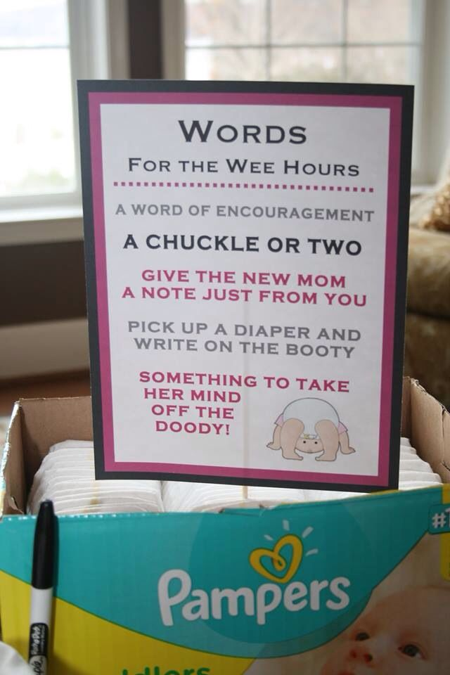 Pink and black themed baby shower.   The guests were asked to write a message on a diaper. The message could be a word of encouragement or a chuckle or two. The mommy-to-be picked her favorite message.