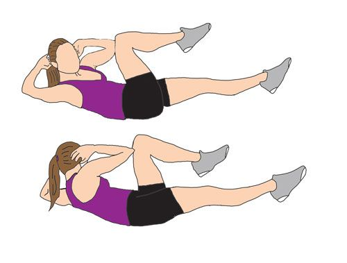 Bicycle | Crunch Lie flat on the floor with shoulders raised just off the floor and arms behind your head. In a swift move, Let your right knee touch your left elbow, while contracting your abdominals and switch sides before completing the move. Perform 20 reps in 1 set.