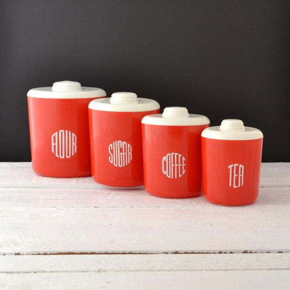 Retro Red Kitchen Canisters  Loma Plastic by VintageResolution, $40.00