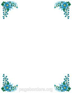 Printable blue flower border. Use the border in Microsoft Word or other programs for creating flyers, invitations, and other printables. Free GIF, JPG, PDF, and PNG downloads at http://pageborders.org/download/blue-flower-border/