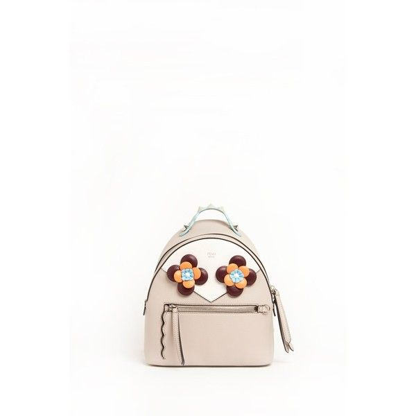 FENDI Leather Backpack With Flower Application ($1,660) ❤ liked on Polyvore featuring bags, backpacks, real leather backpack, leather rucksack, fendi backpack, fendi and white backpack