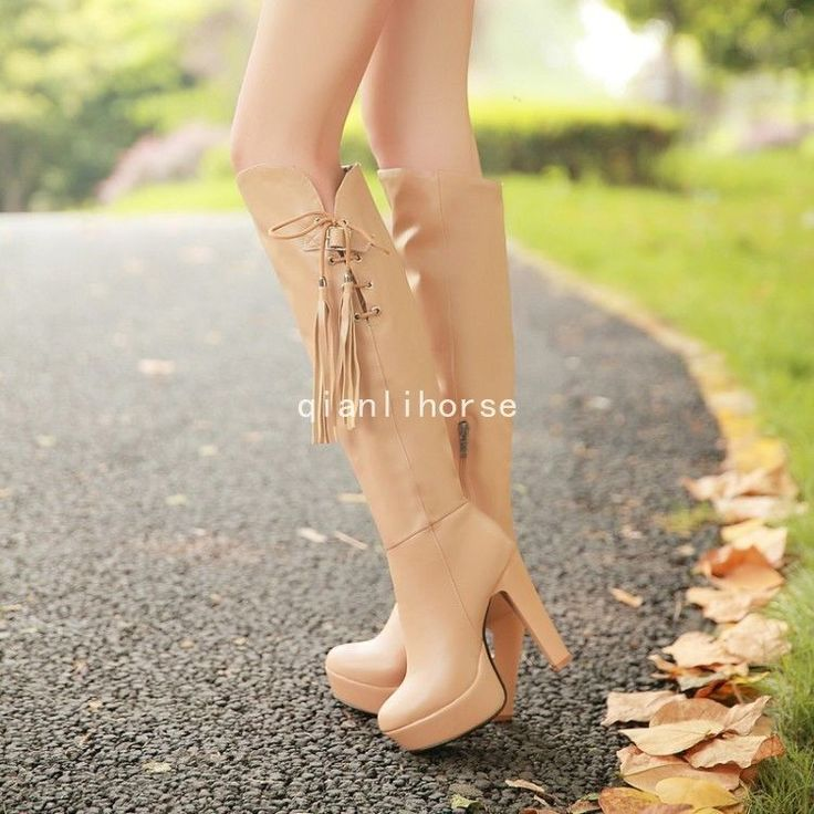 High Heel Shoes Women's Riding Boots Tassel Side Zip Platfor Knee High Boots Sz