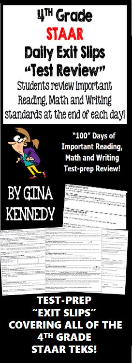 """With this resource you will find 100 (300 total questions) daily 4th grade STAAR math, writing and reading exit slips that include three review questions each directly tied to the STAAR reading, math and writing TEKS. Excellent for an end of the day """"wrap up"""" review as well as for an authentic on-going assessment! This set of the """"4th Grade STAAR Daily Exit Slips"""" will help you to prepare your students effectively for the STAAR tests in 4th grade.$"""