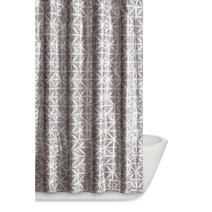 Watercolor Paisley 72 in. Gray Shower Curtain