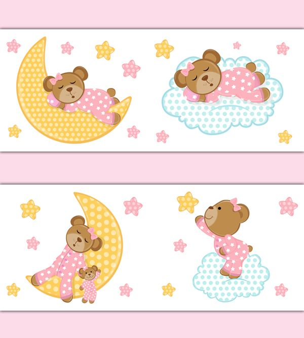 Pink Teddy Bear Wallpaper Border Wall Art Decals for baby