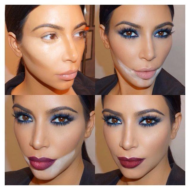 #TricksOfTheTrade Shot an amazing make up tutorial today with none other than my boo thang make up King @makeupbymario for KimKardashianWest.com #Contour #Lips #BlueSmokeyEye #DarkLip