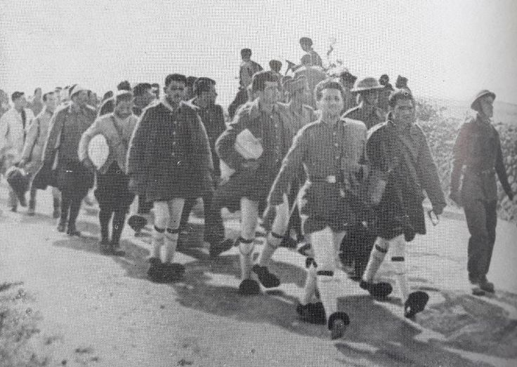 Going home: Greek Evzones marching, following the capitulation of Greece, April 1941