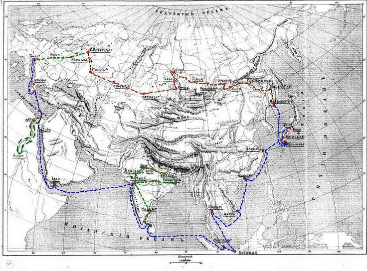 В период с 23 октября (4 ноября) 1890 по 4 августа (16 августа) 1891 наследник трона Российской Империи цесаревич Николай Александрович, будущий Император царя Николая II совершил восточное путешествие, во время которой посетил множество стран, в том числе и Японию. Маршрут поездки показан на карте: