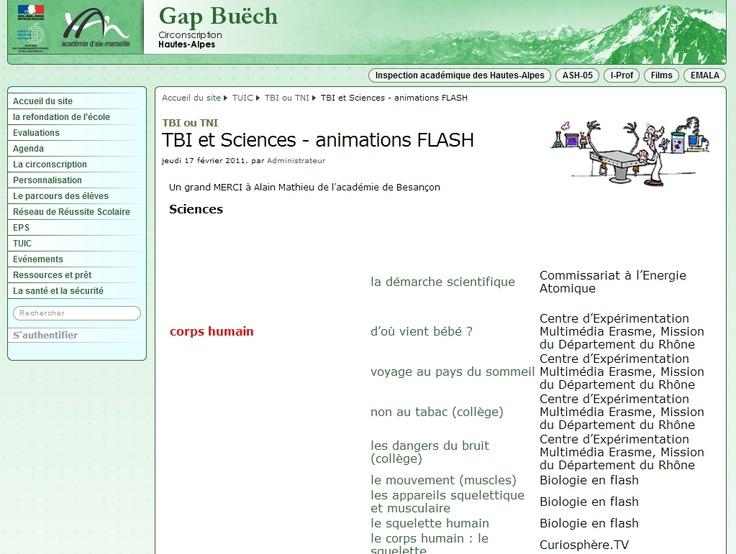 De nombreuses animations flash pour les sciences.