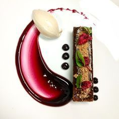 Stout Cake, Blackberry Coulis and Purée and Stout Chantilly Quenelle