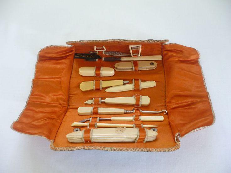 Vintage 11 Piece Manicure Set W Leather Case Bates Manicure Sets Pinterest Manicures