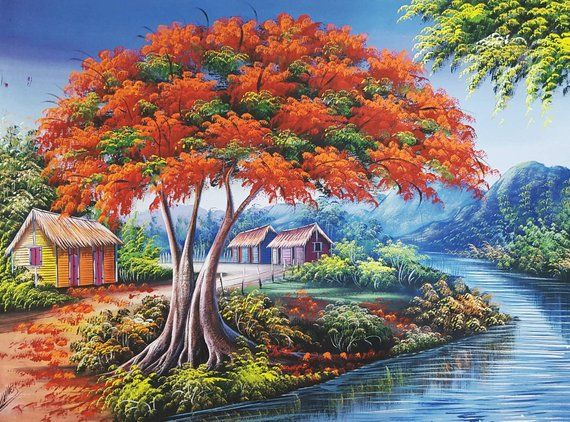 Flamboyant Tree Painting, Dominican Art, Oil Painting, Colorful Landscape, River, Haitian Art, Tropical Home Decor, Original Painting 30×40