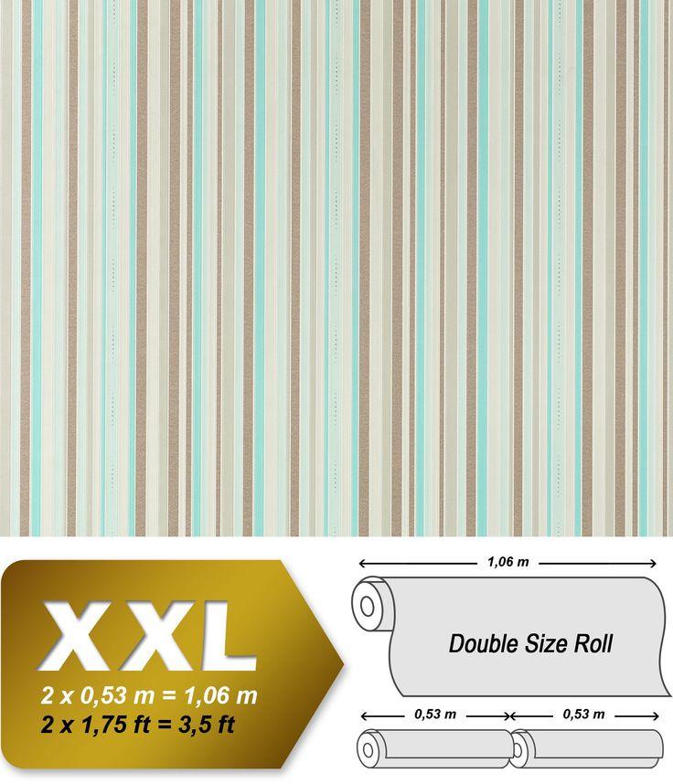 EDEM 967-25 эксклюзивные флизелиновые обои в полоску серо-коричневые бежевые бирюзовые с блестками | 10,65 кв м 001