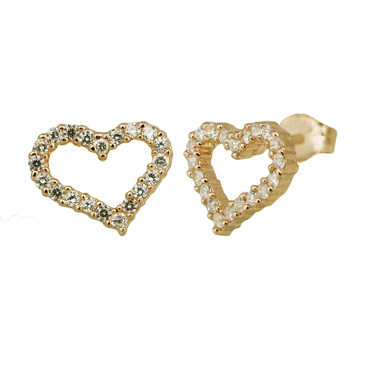 Small heart sterling silver ear studs from Svane & Lührs with white sparkling CZ. // Worldwide shipping EUR 5 //
