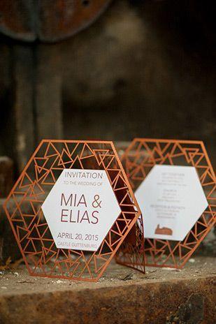 Modern Geometric Wedding Invites, laser cut wedding invitation