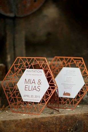 Modern Geometric Wedding Invites, laser cut wedding invitation