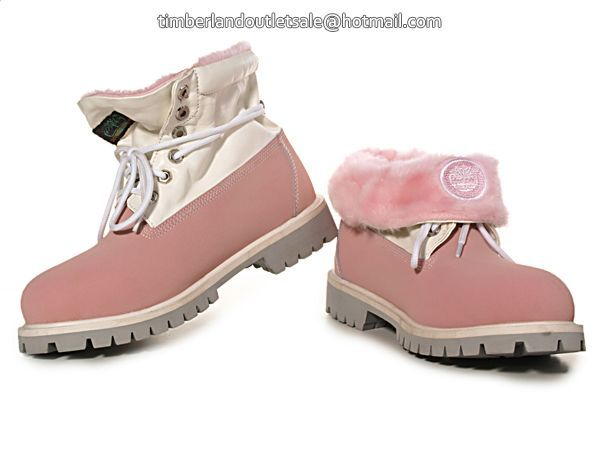 official timberland boots,Women's Timberland Roll-Top Boots-White Pink clearance,timberland outlet.