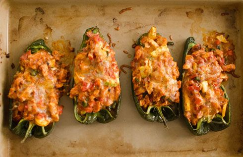 Enchilada Stuffed Poblanos - Carb free and delicious!!  What a great weeknight dinner.