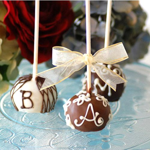 Monogrammed cheesecake lollipops. REALLY unique. ;)