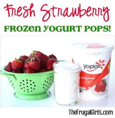 Fresh Strawberry Frozen Yogurt Popsicles Recipe! ~ from TheFrugalGirls.com ~ just 3 ingredients and you've got yourself the perfect homemade popsicle and delicious summer dessert! #strawberries #recipes #thefrugalgirls