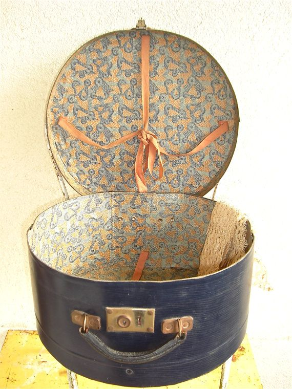 Vintage large French Hat Box Travel case 1920s by sweetbrocante, $66.00