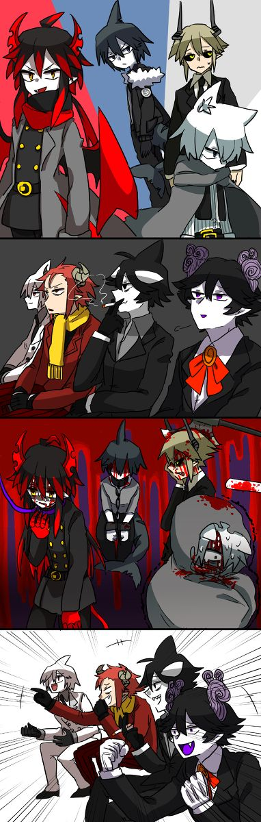 These sadists I swear... I expect as much from Satanick, Sal and Idate... you know what, they are ALL sadists. Only satisfied hurting these cinnamon rolls. Well, Ivlis, Shirogane and Samekichi are cinnamon rolls.  Pairings: Sal x Samekichi (brocest because why not?) Gyakuten x Sullivan (dadcest. Nice) Idate x Shirogane (that poor wolf ;3; I'm so sorry Shirogane. Idate.. you sexy orca.. T-T) Satanick x Ivlis (... this one is an interesting one. I mean, the two do have a child together o.O)