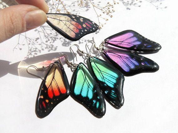 Farfalla orecchini resina trasparente gioielli farfalla Ali orecchini Eco amichevole estate orecchini rosso ragazza regalo per la figlia