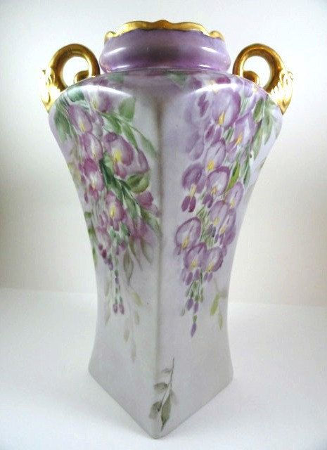 Elegant Victorian Vase Hand Painted by MemoriesofYesterday on Etsy, $125.00