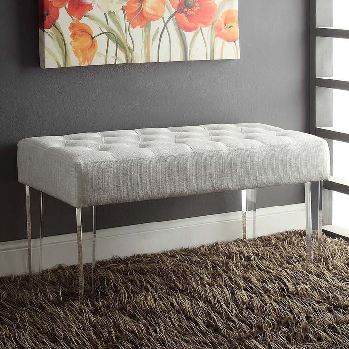Likeable Bench Has Contemporary Style Linon Ella Acrylic Leg Living Room