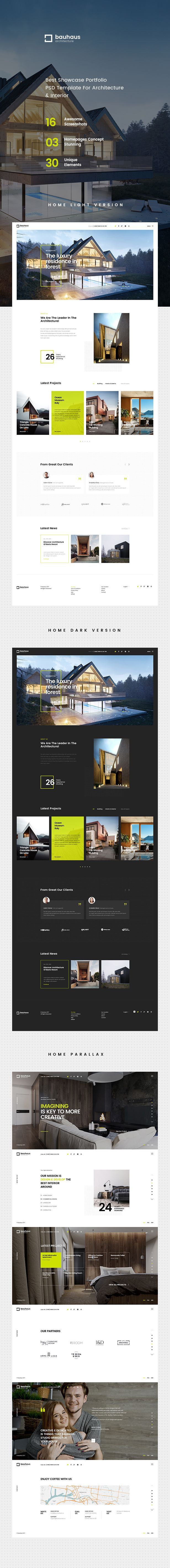 Bauhaus is evaluated an unique & trendy PSD template for architecture & interior company with clean and modern design. With design minimal and focus on show projects, Bauhaus will make your work lo...