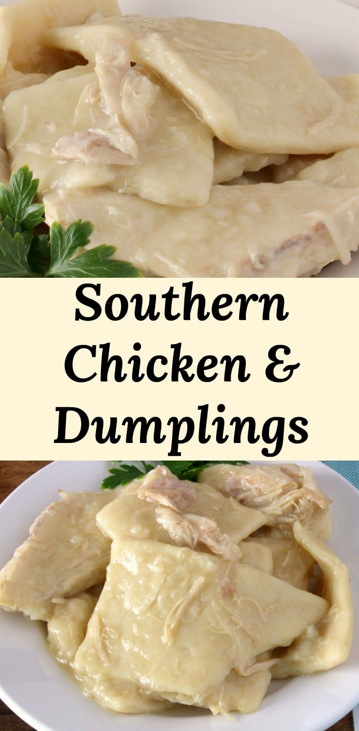 Classic Southern Chicken and Dumplings. Chicken simmered in chicken broth with o…