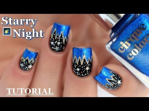 Nail Art Nuit Etoile Au Vernis Easy Starry Night Nail Design