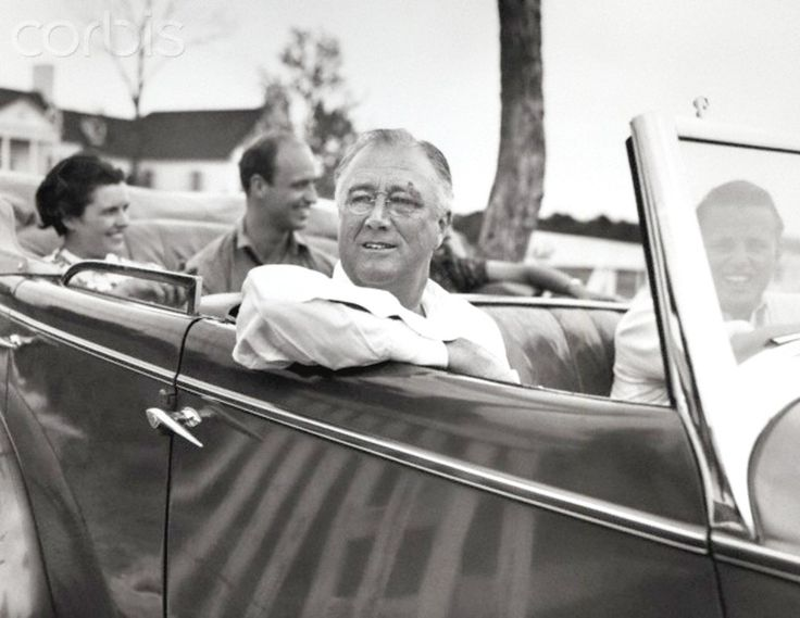 5/10/1937-Fort Worth, Texas- President Roosevelt leaves the home of his son Elliot for a drive. In the rear of the car are Mrs. Elliot Roosevelt; James Roosevelt and Mrs. Eloise Polk, (friend of Mrs. E. Roosevelt). In the front of the car are President Roosevelt and his son Elliot. ❤❁❤❁❤❁❤❁❤❁❤  http://www.fdrlibrary.marist.edu/aboutfdr/biographiesandmore.html