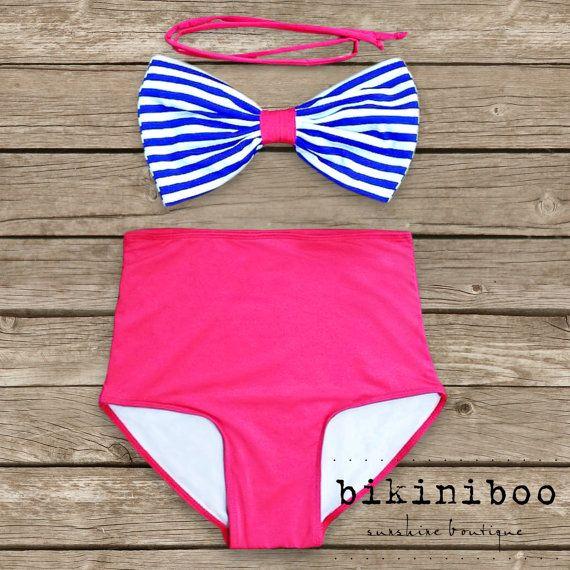high waisted bikin - etsy Bow Bandeau Bikini - Vintage Style High Waisted Pin-up Swimwear -  Nautical - Hello Sailor! - Unique  So Cute!