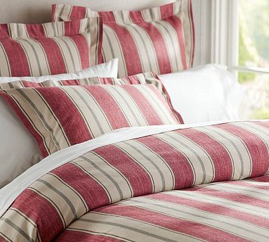 Joshua Red Stripe Duvet Cover Amp Sham Red Potterybarn