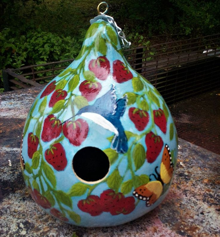 Strawberries, Hummingbird, Butterfly Sponged Blue Hand Painted Gourd Birdhouse