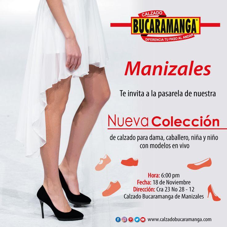Manizales te invita a la #pasarela de nuestra nueva #colección de calzado para dama, caballero, niña y niño con modelos en vivo. ¡Te esperamos!  www.calzadobucaramanga.com