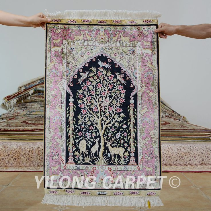 Yilong 2'x3' Turkish silk carpet prayer ha…