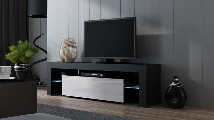 """TV Stand MILANO 160 Black- TV Cabinet with LEDs - Living Room Furniture - TV Console for up to 70"""" TV screens - TV stand with LED lights (Black & White)"""