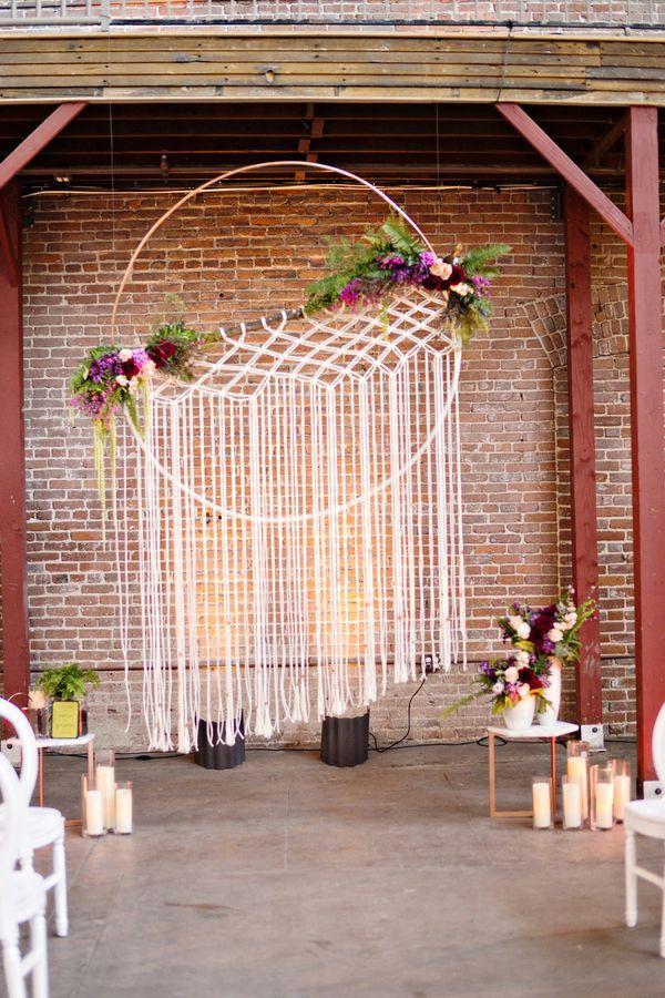 bohemian wedding inspiration macrame hanging ceremony backdrop