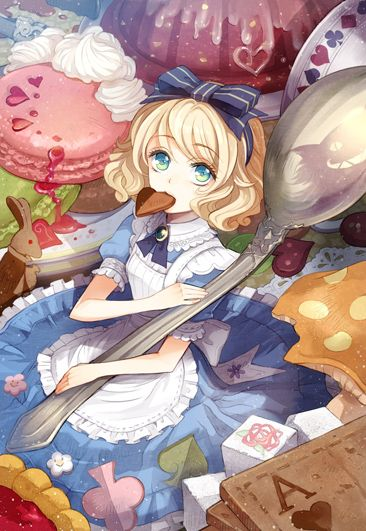 ✮ ANIME ART ✮ Alice in Wonderland. . .Alice. . .miniature. . .spoon. . .sweets. . .cookie. . .pie. . .macaron. . .short hair. . .hair bow. . .apron. . .playing cards. . .fairy tale. . .cute. . .kawaii